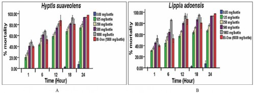 (AB) Adulticidal activity of <em>Hyptis suaveolens</em> and <em>Lippia adoensis </em>essential oils against adults of <em>Anopheles gambiae</em> under Laboratory conditions