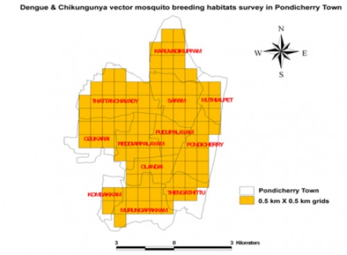 The GIS based grid map (0.5 km X 0.5 km) was overlaid on the block boundary of Pondicherry city map for housing survey for mapping Aedes species mosquitoes breeding habitats, using GPS