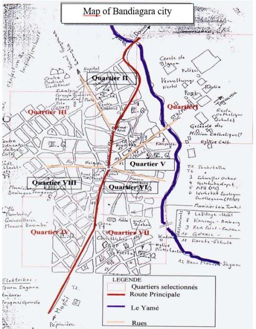 Bandiagara city map (Source, Bandiagara Malaria Project Entomology team, 2000)