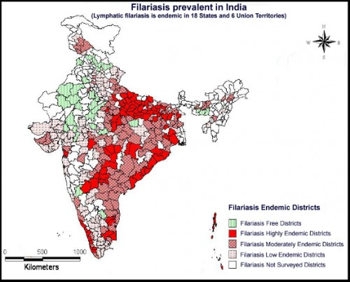 Filariasis endemics in India as on 2012.