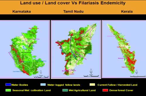 The spatial relationship between the IRS WiFS data and the Filariasis Endemicity in Karnataka, Tamil Nadu and Kerala states of South India, The Filariasis Endemicity level contour map is overlaid on land use / land cover map derived from satellite data.