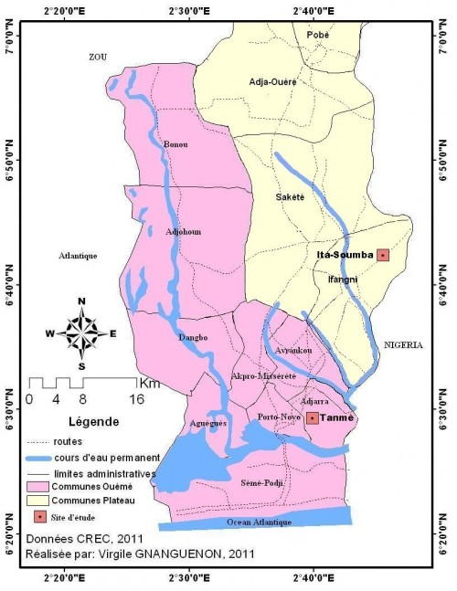 The villages of Itassoumba (district of Ifangni) and Abomey-takplikpo (district of Adjarra) in south-eastern Benin