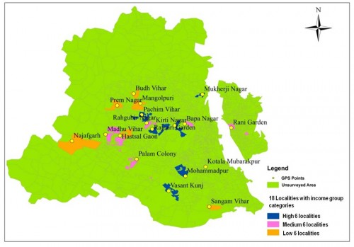 Map of Delhi showing 18 localities included in the study