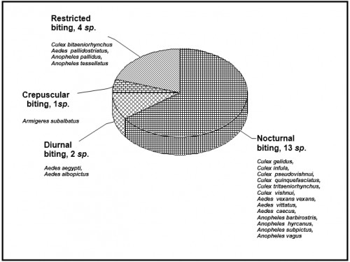 Pie chart showing the biting pattern of mosquitoes recorded in the study area