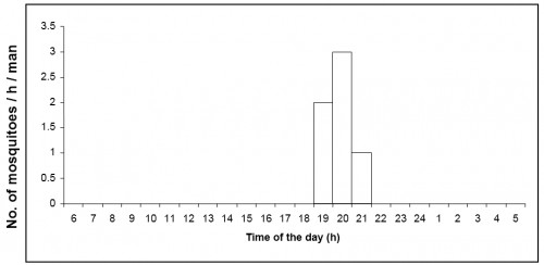 Number of<strong> </strong><em>Aedes vittatus</em> caught per man hour