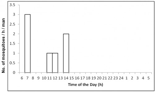 Number of <em>Aedes albopictus</em><strong> </strong>caught per man hour