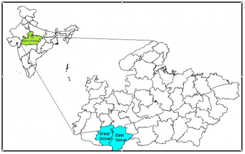 ISP Study Sites Selected For Study Are Shown In Cyan. East Nimar and West Nimar Formerly Known As Khandwa and Khargone Respectively In Madhya Pradesh, India