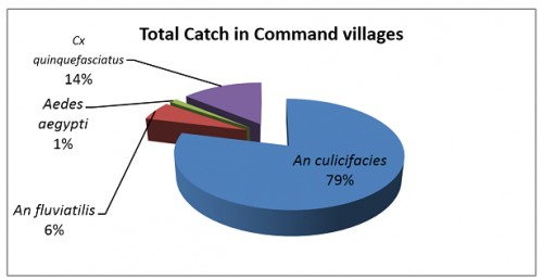 Percentage Proportion of Vector Mosquitoes Observed In Total Catch in Command Areas